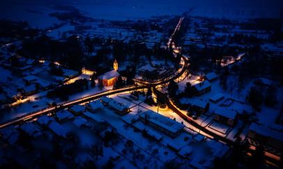 Téli estén - a levegőből