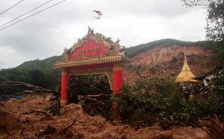 Hatalmas földcsuszamlás Mianmarban