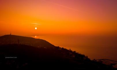 Téli napnyugta a Balatonon