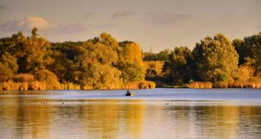 Magányos halász az októberi napsütésben