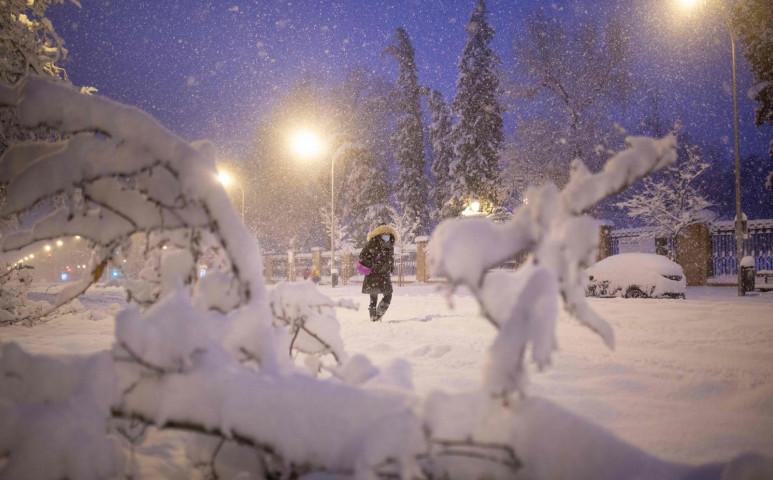 Madrid a hó fogságában