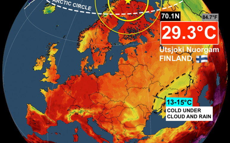 30°C-os hőség Finnország legészakibb mérőállomásán
